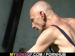 old daddy toying his sons gf cum-hole
