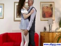 horny amateur babe blows geriatric