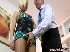 blonde doxy in nylons fingers herself