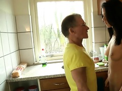 spoiled young girl fucking old dick in the kitchen