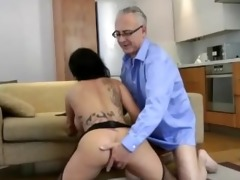 older chap fucks a hot younger stocking wench