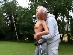 slutty blond fucks old man
