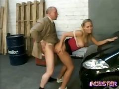 dad drilled hot daughter in garage