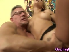 babe gets a spunk fountain from old chap