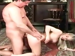 old man fucks youthful girl on the bed