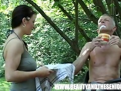 breasty bushy cutie fucked by an old lad