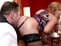 family serf licking sexy blond lady