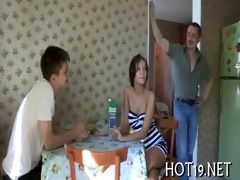 worthy gangbang with teen gal