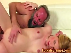 unshaved old stud copulates petite blond arse