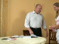 cumshot lesson from elderly teacher