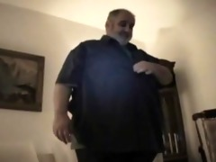 chunky bear dad - strokes his chubby pounder