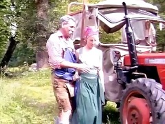 grandad and niece in the field