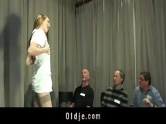 youthful nurse banged by five old doctors at a