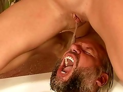 older man and young beauty pissing and fucking