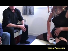 voyeur papy copulates nymph in three-some