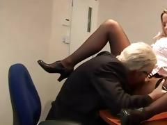 old geezer goes down on youthful slut on his