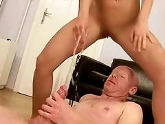 old chap fucking and peeing on young hotty