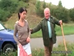 cute sweetheart seduces grandpa on the road