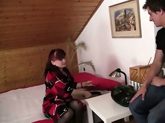 lewd mother-in-law toying her hairless cunt then