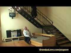 young legal age teenager gets drilled by a grandpa