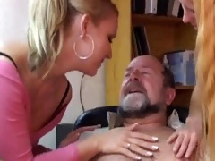 sexy blondes having trio pleasure with an old man