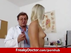 awesome blond uma zex harassed by old gyno medic