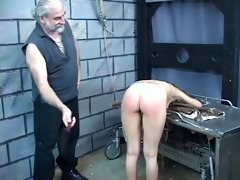 hard spanking for hot young brunette hair perky