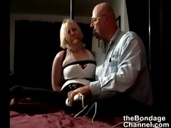 old man ties stripper and makes her cum