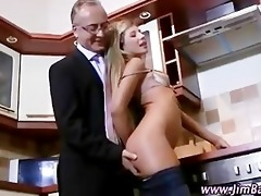 aged guy watches younger cutie fingered