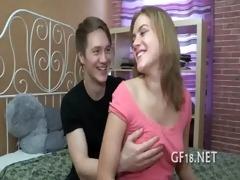sweet-looking teen girl takes hard jock