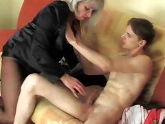 juvenile man enjoying a horny older woman