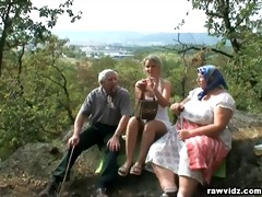 voyeuristic blonde with old couple