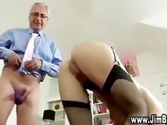 nasty schoolgirl receives a cumshot after being
