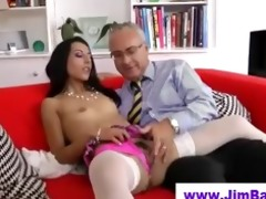 hottie in stockings sucks old guy