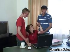 dad and son group sex old wench